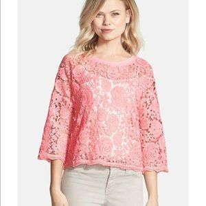 Chelsea28 flower embroidered lace top